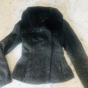 NEW Wool Armani Exchange Pea Coat Faux Fur